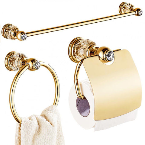 $32.87- Luxury Zirconium Gold Solid Brass Toilet Paper Holder Polished Towel Bar Crystal Round Base Towel Ring Bathroom Accessories