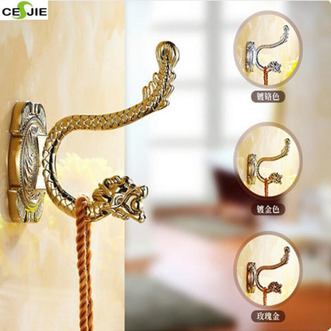 $17.78- Luxury Brass Bathroom Towel Coat Hat Hangers Dual Peg Dragon Embossed