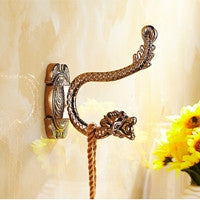 $19.44- Luxury Brass Bathroom Towel Coat Hat Hangers Dual Peg Dragon Embossed