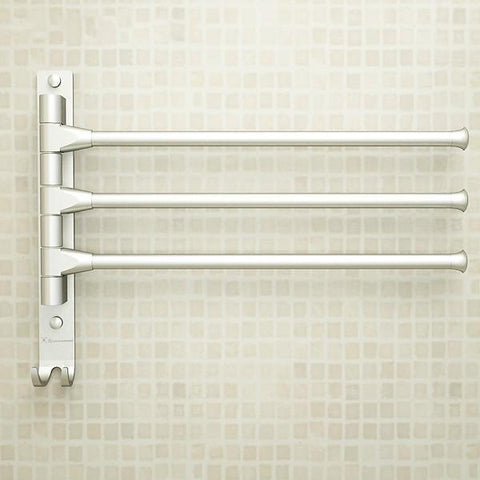 $30.04- European Space Aluminium Towel Rack Toilet Towel Hanging W/ Hooks Bathroom Towel Rack Movable Towel Bars 4/3/2 Arms