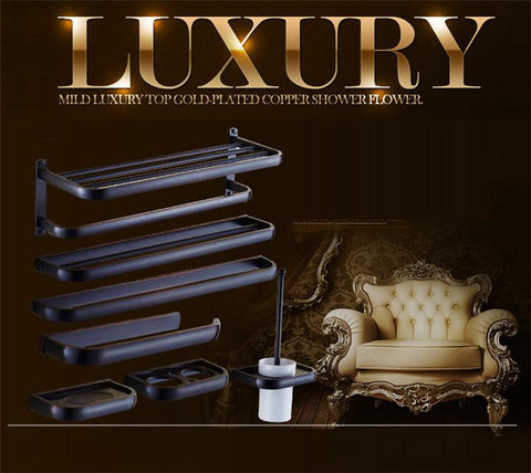 $72.00- Luxury European Style Antique Wall Mounted Black Brass Bathroom Wall Stand Towel Rack ShelfStorageToilet Brush For Home