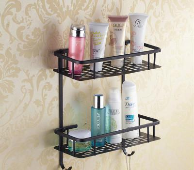 $229.50- Luxury European Style Antique Wall Mounted Black Brass Bathroom Wall Stand Towel Rack ShelfStorageToilet Brush For Home