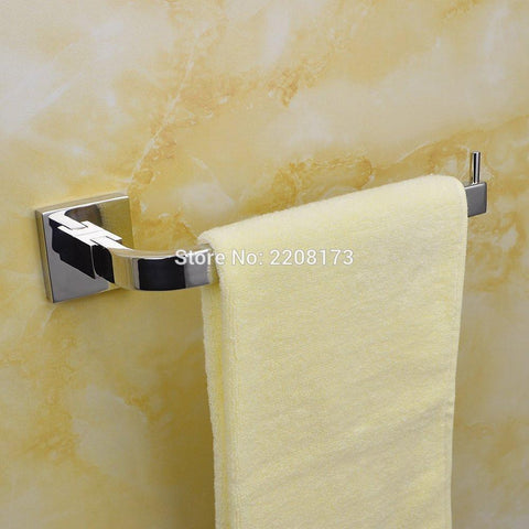 $52.18- Promotions Bathroom Single Towel Ring Towel Bar Square Polished Chorme Solid Brass
