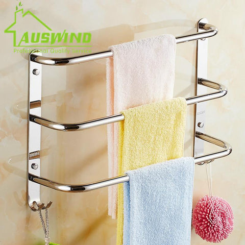 $42.10- Sus304 Stainless Steel Chrome Towel Bar 3 Layers Wall Mounted Towel Racks W/ 2 Hooks Small Bend Bathroom Accessories Sets