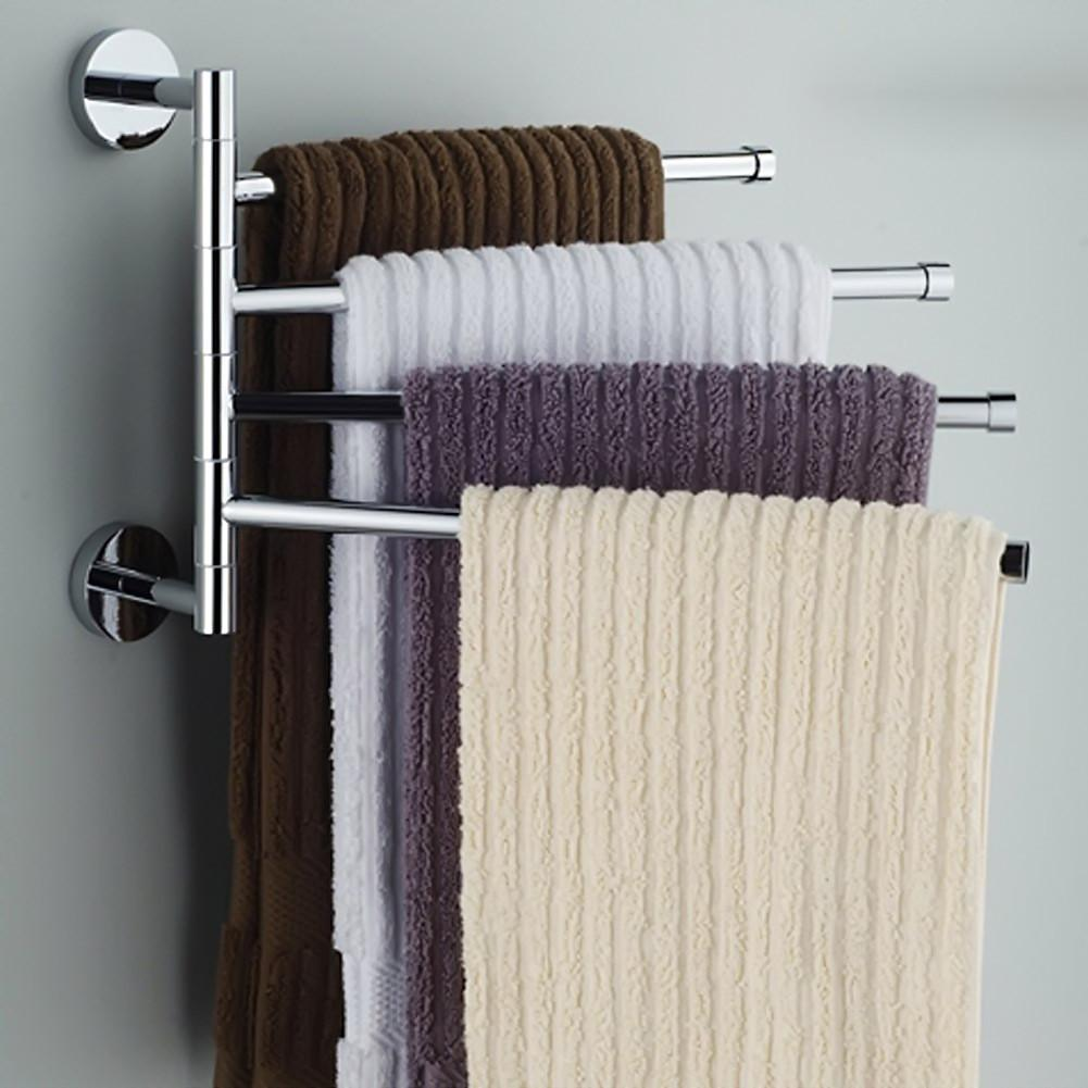 $27.29- 4 Bars Towel Bar Stainless Steel Rod Towel Rack Rotating Bathroom Towel Hanging