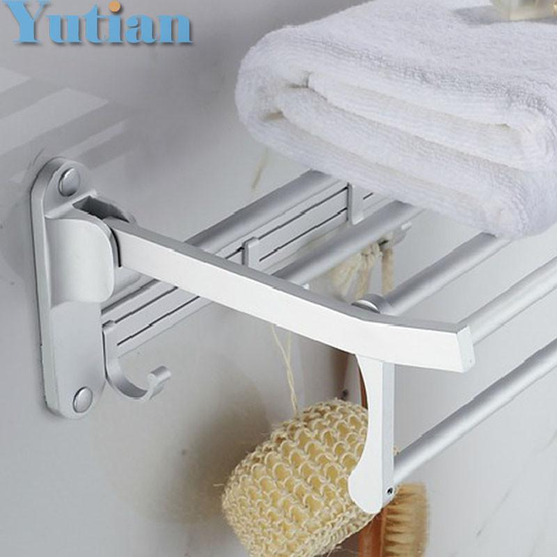 $51.82- Bathroom Towel Holder Foldable Towel Rack50Cm 40 Cm Size Oxidation Aluminium Towel Rack W/ Hooks Yt4018