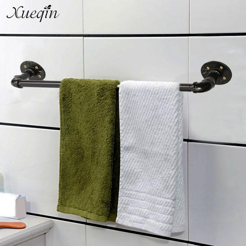 $45.30- Xueqin Vintage 60Cm Bathroom Towel Bar Rack Hanger Holder Black Towel Shelf Shower Room Iron Storage Shelves