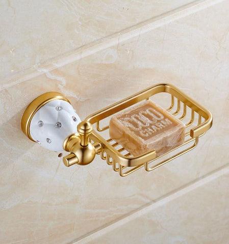 $44.77- European Soap Dish Golden Soap Holder Diamond Soap Box Bathroom Hardware Bathroom Accessories