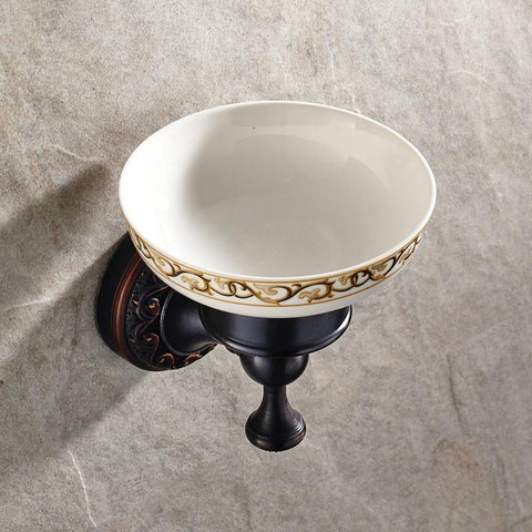 $43.20- Antique Black Soap Dish Solid Brass W/ Ceramic Soap Dish Cup Carved Oil Bronze Soap Dish Holder Wall Mounted Bathroom Product
