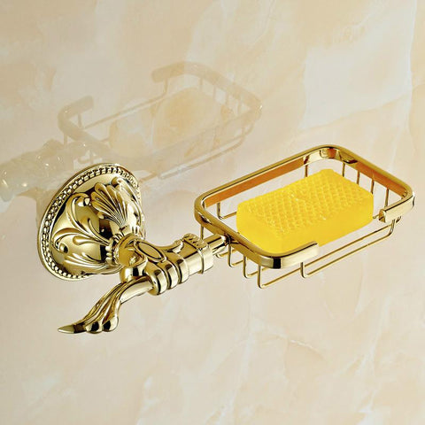 $42.62- Antique Gold Polish Soap Net European Leaf Carved Brass Soap Dish Holder Bathroom Hardware Sets Bathroom Accessories