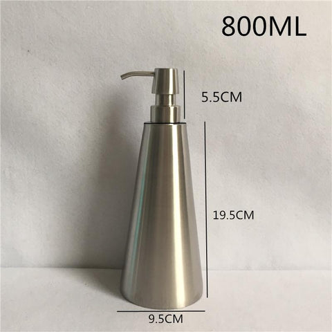 $29.66- 800Ml 304 Stainless Steel Liquid Soap Dispenser Hand Sanitizer Bottle For Bathroom Kitchen Countertop Bathroom Accessory Wy002