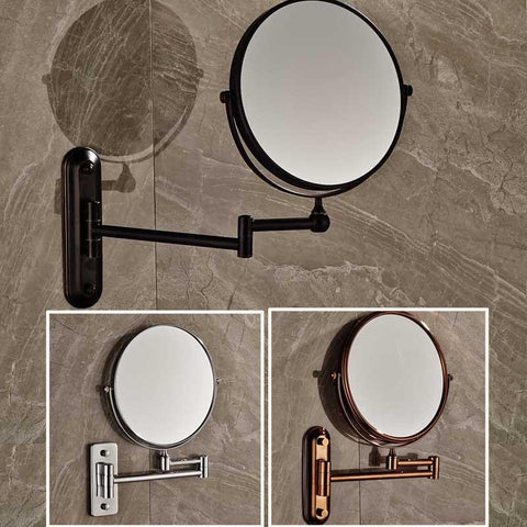 $64.58- 8 Wall Mounted Round Magnifying Bathroom Mirror Brass Makeup Cosmetic Mirror Lady'S Private Mirrors