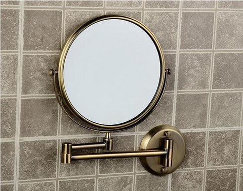 $66.58- Hot Bathroom AntiBronze Wall Mounted 8 Inch Brass 3X/1X Bath Mirror Folding Makeup Mirror Cosmetic Mirror Lady Gift