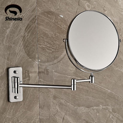 $61.38- Wall Mounted Chrome 8'' Mirror Makeup Mirror Dual Sides Round Mirror Magnifying Mirror