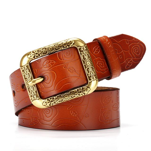 $18.27- New Designer Brand Women Cow Genuine Leather Hollow Fashion Belts For Women Female Pin Buckle Cinto Feminino Belt For Jeans