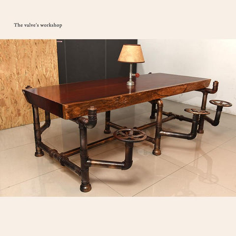 $16800.00- American Industrial Pipe Office Furniture Golden Years Series Creative Pipeline Solid Wood Table Boss Table Office Desk J001