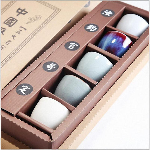 $61.20- Chinese Vintage Ceramic Tea Cup Chinese Classic Kung Fu Teacups Hand Made Porcelain Tea Sets Travel Cup Saucer Set