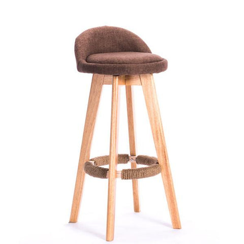 Swivel Bar Stool Chair W/ Upholstered Seat Back Mahogany/Natural Finish Coffee Cafe Bar Furniture Chair Stool Height 70Cm