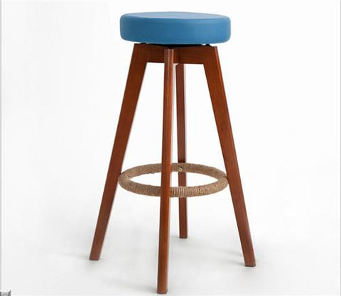 Wooden Swivel Bar Stools Modern Brown Finish Round Leather Foam Seat Backless Indoor Coffee Cafe Bar Furniture Chair 25Inch