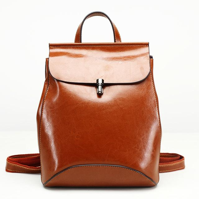Hot Small Genuine Leather Women Backpacks Shoulder Bags Crossbody Ladies Round Saddle Casual Fashion Solid Softback Travel