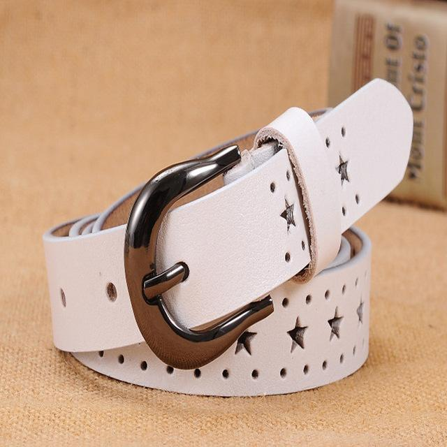 $17.04- New Fashion Genuine Leather Belts Women Fashion Cow Skin Leather Woman Top Quality Straps Female For Jeans