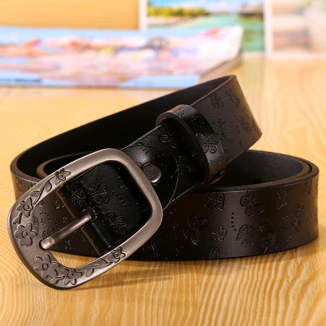 $18.90- Destiny Designer Belts Women High Quality Luxury Brand Genuine Leather Girls Ladies' Belt For Jeans Casual Vintage Flower White