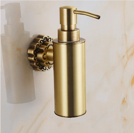 $101.66- New Wall Mounted Carving Antique Bronze Finish Brass Material Soap Dispenser /Bathroom Accessories Liquid Soap Dispenser Pump