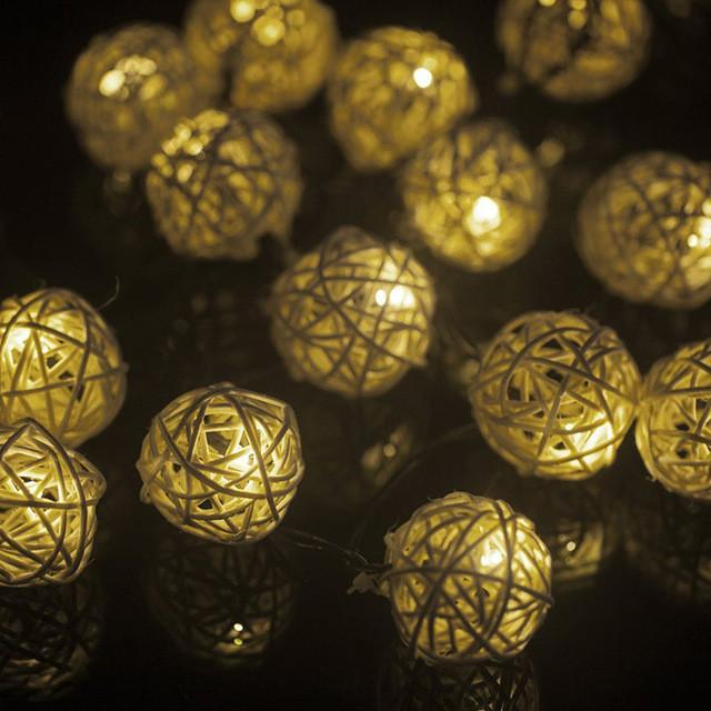 $21.39- 20 Led 9M Solar Sun Rattan Ball Led String Fairy Lights For Christmas Xmas Holiday Lighting Wedding Party Decor Rgb & Warm White