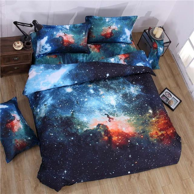$78.39- 3D Galaxy Bedding Sets Twin/Queen Size Universe Outer Space Themed Bedspread Bed Linen Bed Sheets 3Pcs/4Pcs Duvet Cover Set