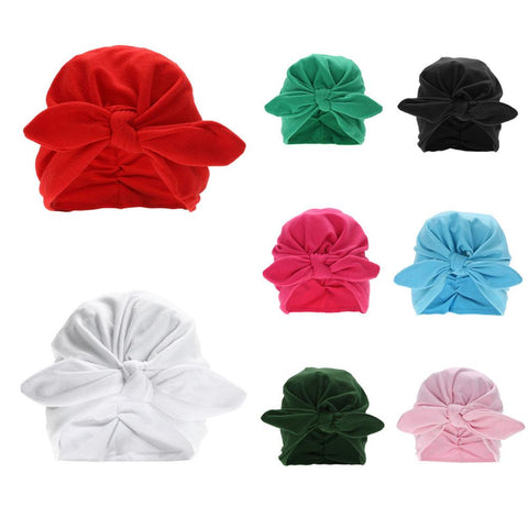 $3.19- Toddler Kids Baby Cotton Soft Turban Knot Hat Rabbit Ears Stretchable Cap Bohemian Beanie