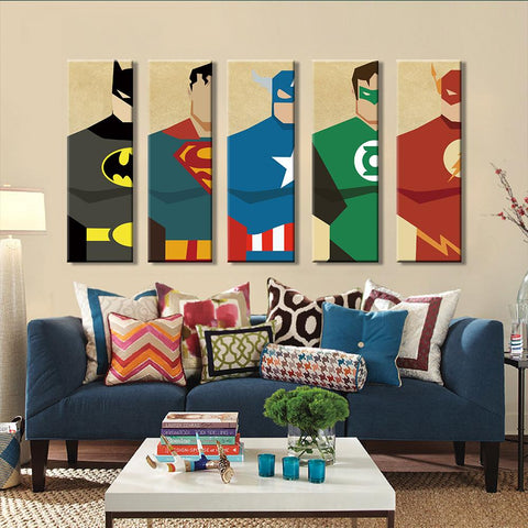 $9.58- Superman Canvas Painting 5 Pieces Superhero Modern Home Wall Decor Canvas Art Hd Print Wall Pictures For Child Bedroom Unframed