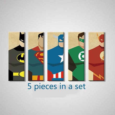 $10.79- Superman Canvas Painting 5 Pieces Superhero Modern Home Wall Decor Canvas Art Hd Print Wall Pictures For Child Bedroom Unframed
