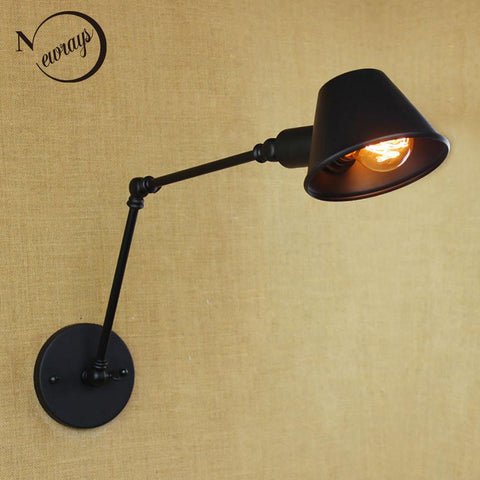 $48.65- Loft Retro Matte Black Iron Shade Adjustable Swing Arm Reading Wall Lamps Lights E27 / E26 Sconce For Workroom Bedroom Bar Cafe