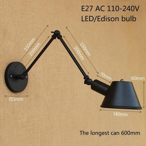 Loft Retro Matte Black Iron Shade Adjustable Swing Arm Reading Wall Lamps Lights E27 / E26 Sconce For Workroom Bedroom Bar Cafe