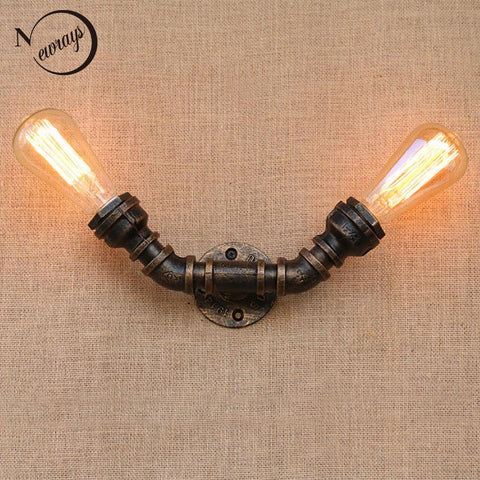 $48.17- Loft Industrial 2 lights iron rust Water pipe retro wall lamp Vintage e27 sconce lights for living room bedroom restaurant bar