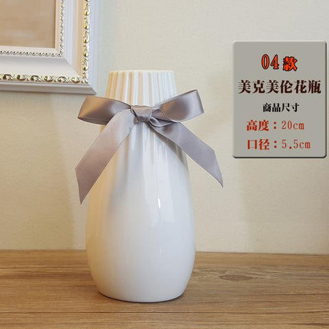 Modern Fashion White Ceramic Flower Vase Home Decoration Tabletop Vase Europe Style White Ceramic Vase Wedding Deco Cramic Vase