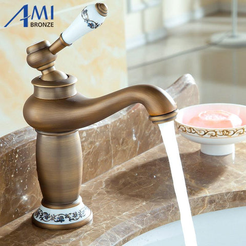 $62.87- shipping Contemporary Antique Brass faucets Bathroom Sink Basin Faucet Mixer water Tap Home Improvement 9031AP