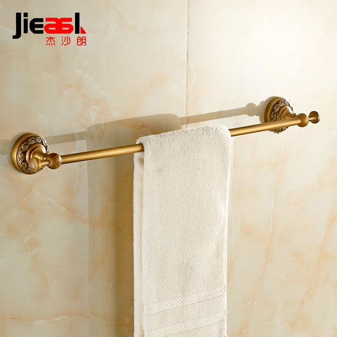 Jieshalang Antique Brass Towel Towel Rack Bar Single Rod European Creative Carved Bathroom Hardware Accessories Set