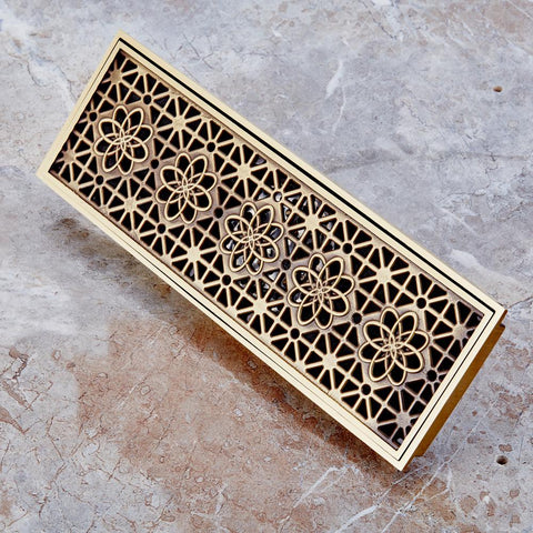 Bakala 10*30Cm Euro Style Antique Brass Bathroom Linear Shower Floor Drain Wire Strainer Art Carved Cover Waste Drainer K-8865