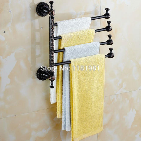 $57.60- 4 Arm Black Plated Copper Towel Bar Rotating Towel Rack Bathroom Kitchen Towel Rack Holder Hardware Accessory I628
