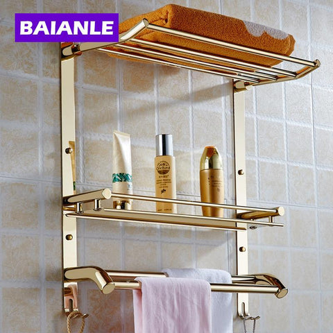 $119.54- Wall Mount Stainless Steel 2 Layers Storage Basket Shower Room Bathroom Towel Rack Soap Dish Shampoo Rack Bathroom Shelves