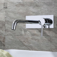 Hpb Contemporary Concealed Basin Mixer Hot Cold Water Bathroom Faucet Wall Mounted Mixer Tap Torneira Banheiro Hp3306