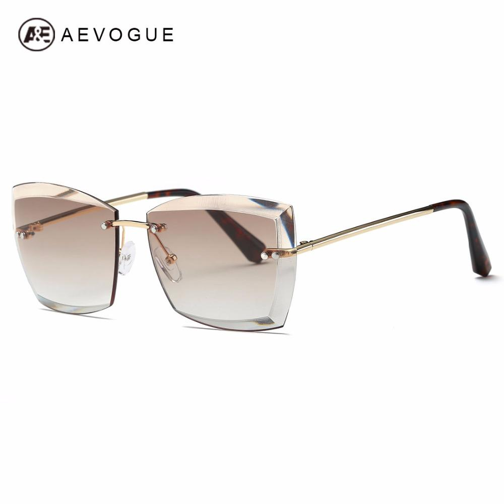 $17.27- Aevogue Sunglasses For Women Square Rimless Diamond Cutting Lens Brand Designer Fashion Shades Sun Glasses W/ Box Ae0528
