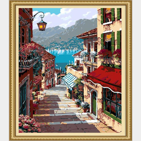 $13.68- home decoration pictures of coastal town painting drawings by the numbers on canvas frameless 40X50cm scenery oil painting PT008