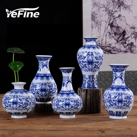 $16.36- YEFINE Vintage Home Decor Ceramic Flower Vases For Homes Antique Traditional Chinese Blue White Porcelain Vase For Flowers