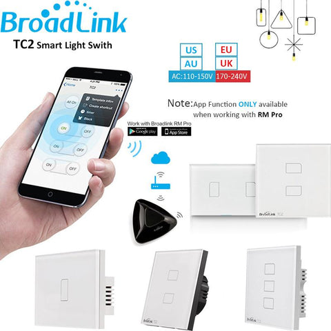Broadlink Tc2 1 2 3 Gang Home Automation Wifi Light Switch 110V-240V Glass Panel Wireless Touch Remote Control By Rm2 Rm Pro