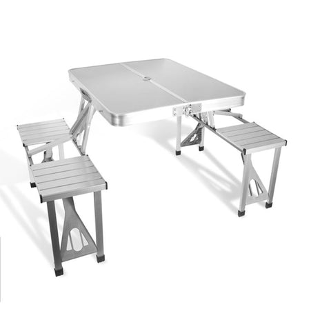 Outdoor Furniture Garden Sets Portable Aluminium Alloy Fold Picnic Desk W/ Four Seats Hot Occasional Table Beach Chair
