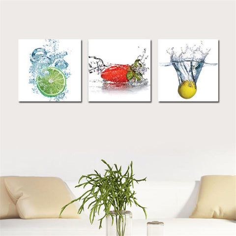 $21.02- 3 Piece Canvas Wall Art Picture Modern Water Fruit Canvas Printing Ptined On Canvas Poster Wall Artwork Home Decor cuadros Cheap
