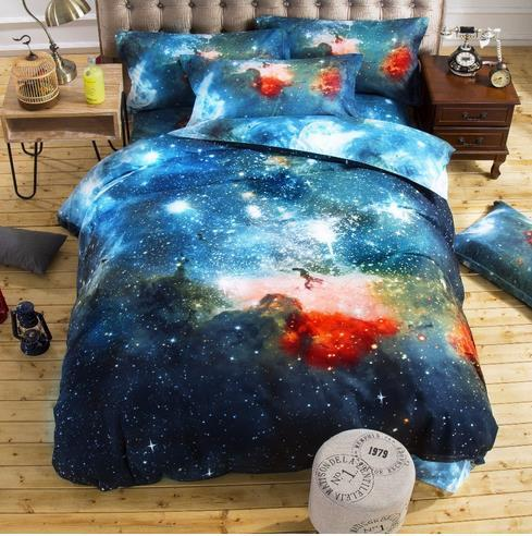 $37.37- 3D Galaxy Bedding Sets Single Twin/Queen Size Bedclothes Bed Linen Horse Printing Mysterious Duvet Cover Set Roupa De Cama