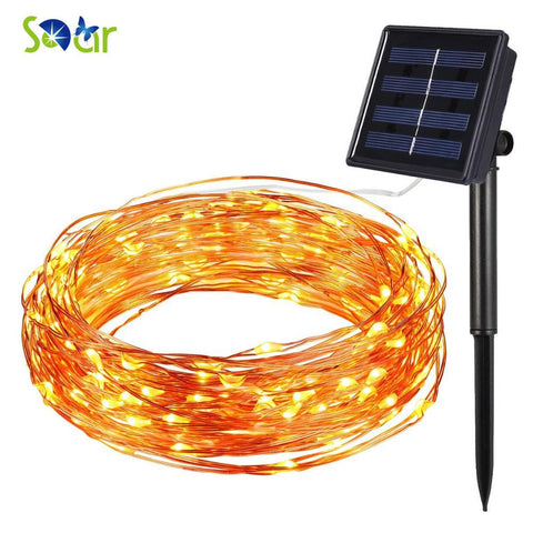 Solar Sun Power String Light Waterproof Led Light 10M 100 Led Copper Wire Lamp Warm White For Outdoor Christmas Decoration Lights
